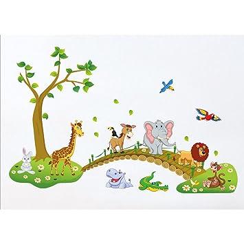Tandi Wandaufkleber für Kinderzimmer, Motiv: Blumen, Tiere ...