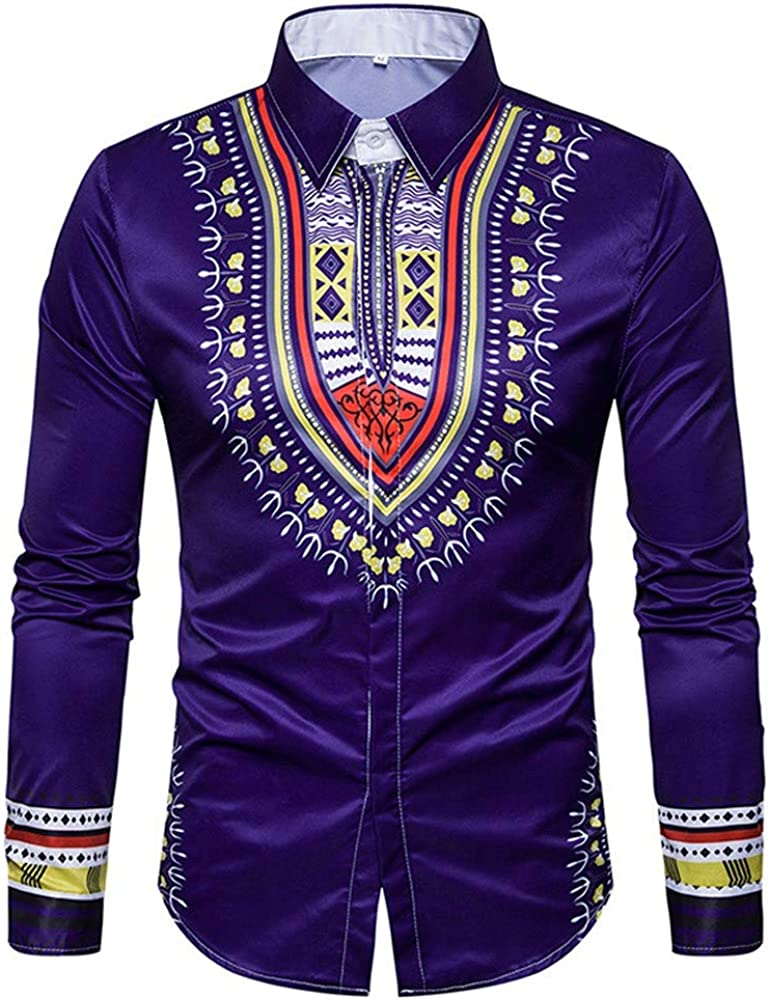 GREFER Mens Tops African Print Long Sleeved T Shirt Blouse Crew Neck Pullover
