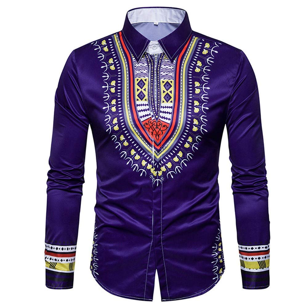 GREFER Men's Tops African Print Long Sleeved T Shirt Blouse Crew Neck Pullover Purple