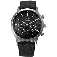 Reloj de pulsera analógico deportivo FEITONG para hombres de negocios, de lujo, correa de cuero, de cuarzo