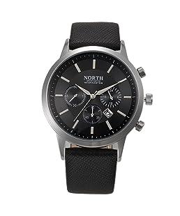 NORTH Luxury Mens Genuine Leather Band Analog Quartz Watches Wrist Watch BK+Retro Vogue WristWatch Cowboy Leather Band Analog Quartz Watch