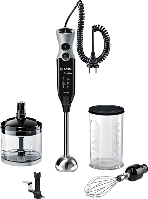 Bosch ErgoMixx MSM67170 - Batidora de mano, 750 W, con picador, varilla batidora y cuchilla para hielo, color negro y gris