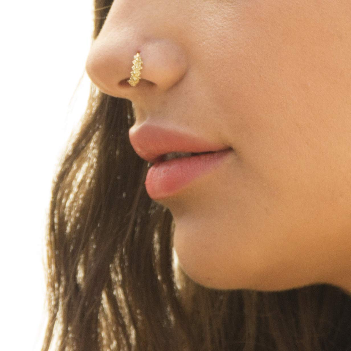 Amazon Com Gold Nose Ring Unique Gold Plated Indian Hoop