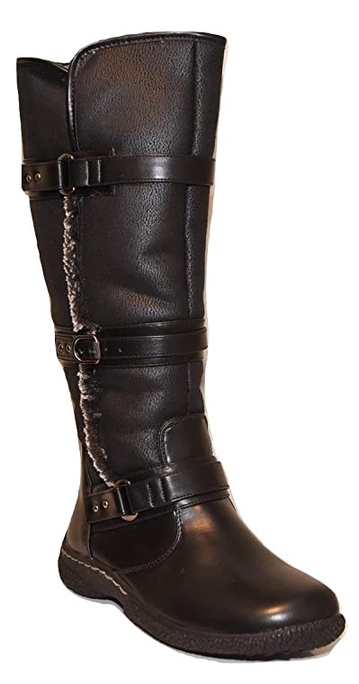 "Women's Gabi Black Zip Up Warm Lined 11"" Winter Snow Boots (6.5 XW Black)"