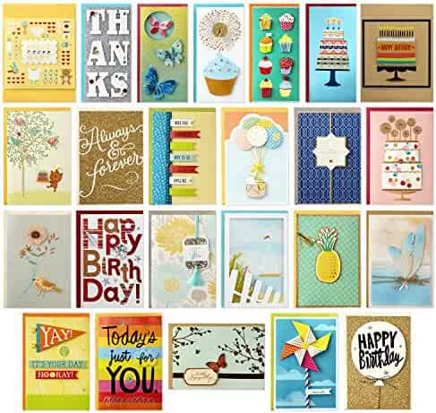 Hallmark All Occasion Handmade Boxed Greeting Card Assortment with Card Organizer (Pack of 24)—Birthday, Baby, Wedding, Sympathy, Thinking of You, Thank You, Blank