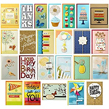 Amazon hallmark all occasion handmade boxed greeting card hallmark all occasion handmade boxed set of assorted greeting cards with card organizer pack of 24birthday baby wedding sympathy thinking of you m4hsunfo