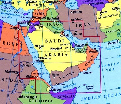 Saudi Arabia & neighbouring countries 1:3, 000, 000 Travel ... on south africa map, tunisia map, kuwait map, dubai map, iraq map, oman map, bangladesh map, germany map, yemen map, soviet union map, syria map, philippines map, singapore map, sudan map, japan map, morocco map, jordan map, ksa map, bahrain map, china map,