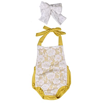 ad243372be54 2PCS Infant Baby Girl Lace Halter Romper Backless Bodysuit + Headband  Outfits 0-24 M