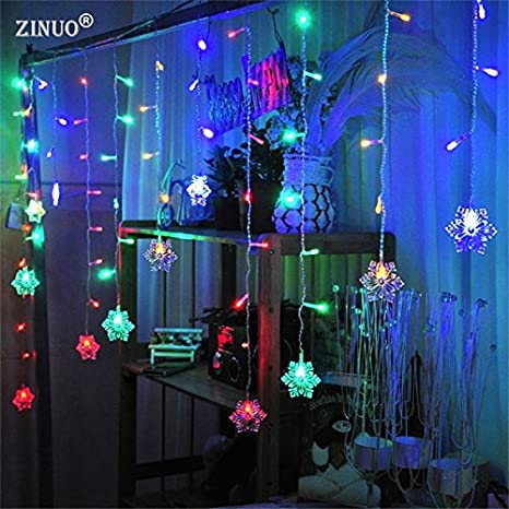 951d29e253d Buy Soledi® Yellow : ZINUO Snow Shape LED Curtain String 3M 96Leds 16 Drop  Lines Fairy Light Curtain for Wedding Christmas Xmas Window Decoration  Online at ...