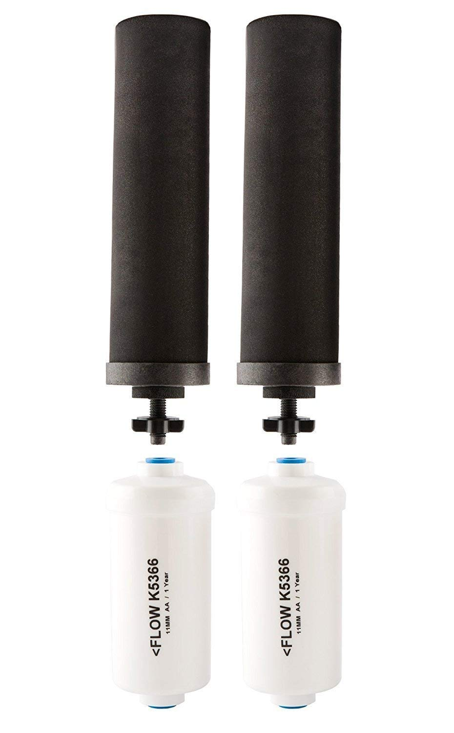 Black Berkey Replacement Filters & Fluoride Filters Combo Pack - Includes 2 Black Filters and 2 Fluoride Filters by Berkey (Image #1)