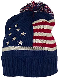 8c17c9b6d2e338 Best Winter Hats Adult American/Americana Flag Cuffed Knit Beanie W/Pom Pom  (