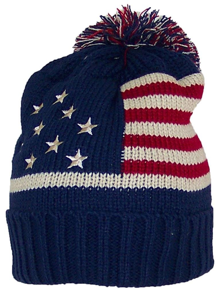 8627a5f39d3 Best Winter Hats Adult American Americana Flag Cuffed Knit Beanie W Pom Pom  (