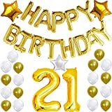 21st Birthday Decorations Party Kit with Happy Birthday Balloon Banner, ...