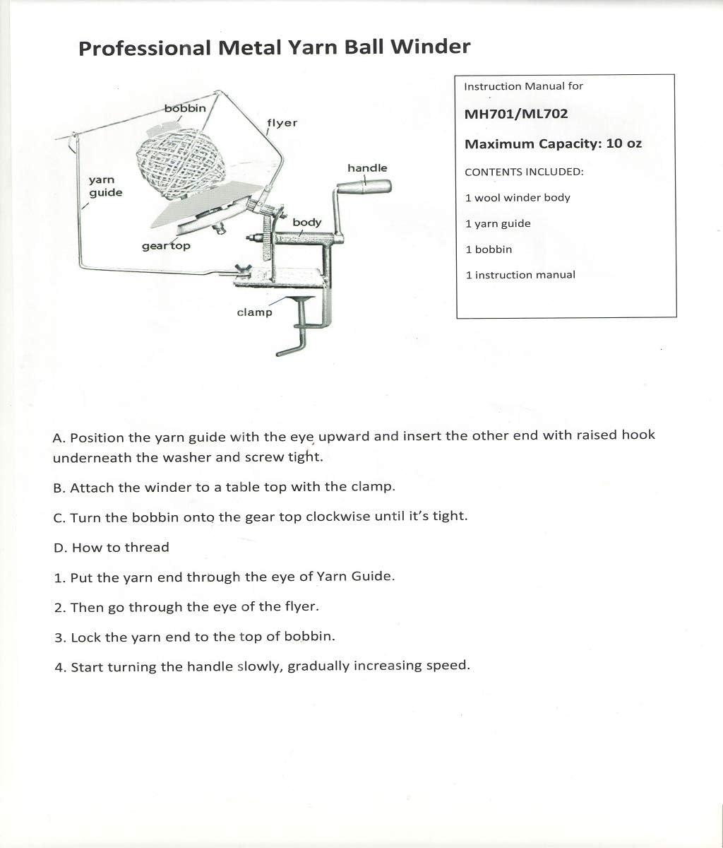 Large Yarn Ball Winder - Yarn/Fiber/Wool/String Ball Winder Hand-Operated - 10.23 x 7.08inch