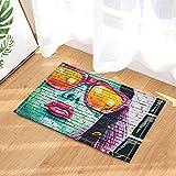 HiSoho Art Paintings Decor Sex Woman with Red Lips Print on Wall Bath Rugs Non-Slip Doormat Floor Entryways Indoor Front Door Mat Kids Bath Mat 15.7x23.6in Bathroom Accessories
