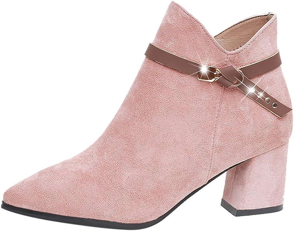 Luckycat Botines Mujer Tacon Ancho Ante Cuero Tobillo Botas Piel Ankle Boots 6 Cm Cremallera Moda Comodos Verano Primavera Boots Zapatillas Altas para Mujer Botas Militar para Mujer Botas para Mujer