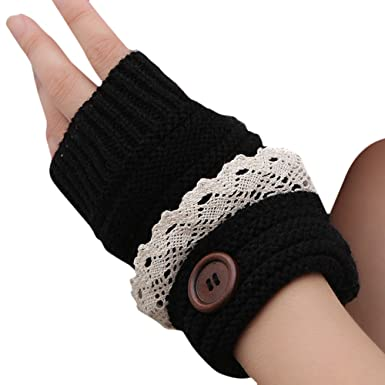 b91f5a914 HugeStore Winter Warm Cute Lace Button Crochet Fingerless Gloves Cable Knit  Knitted Mitten Arm Warmers Wrist Warmers for Women Ladies Black:  Amazon.co.uk: ...