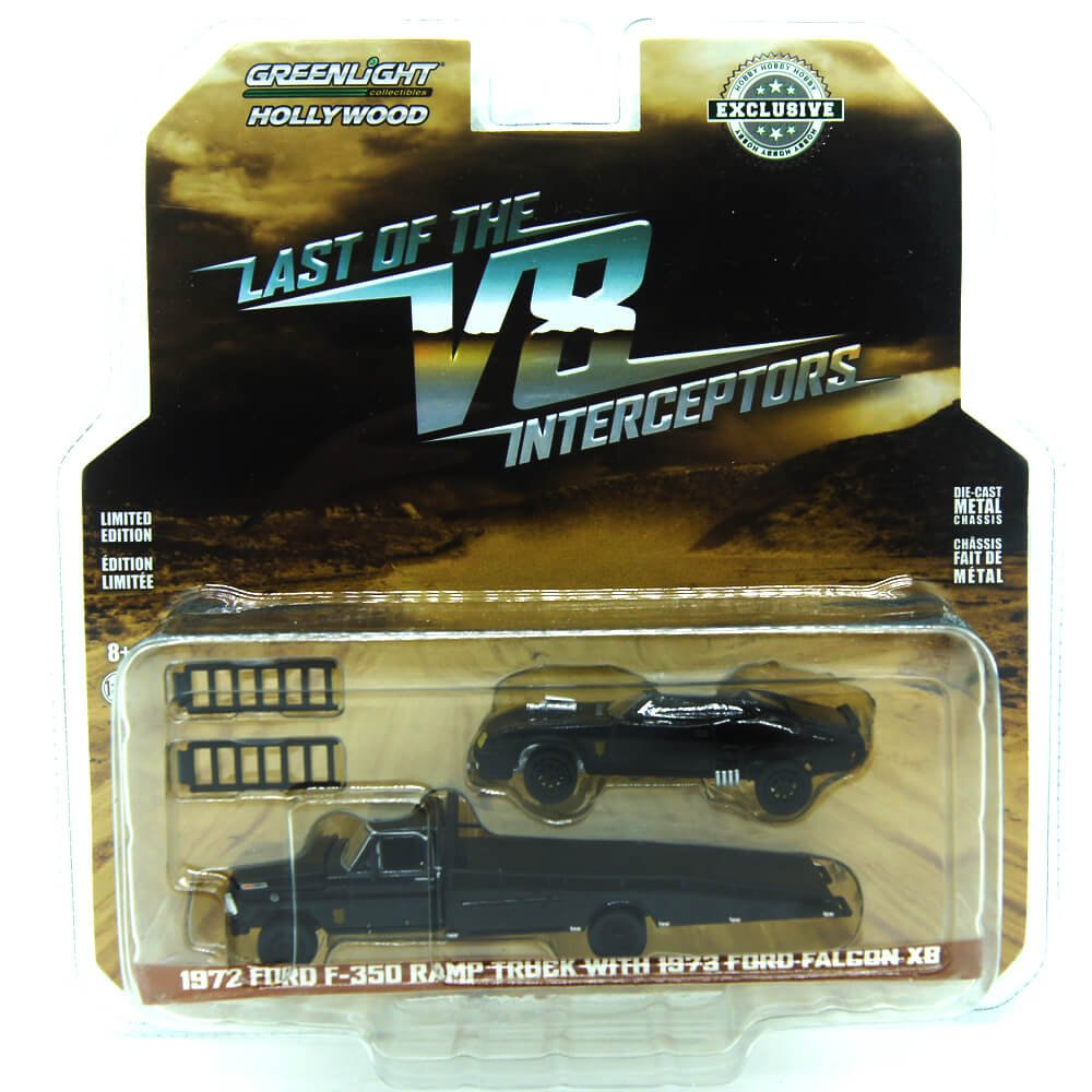 Greenlight 1 64 Hollywood Last of The V8 Interceptors 1972 Ford F 350 Ramp Truck with 1973 Ford Falcon XB Hobby Exclusive