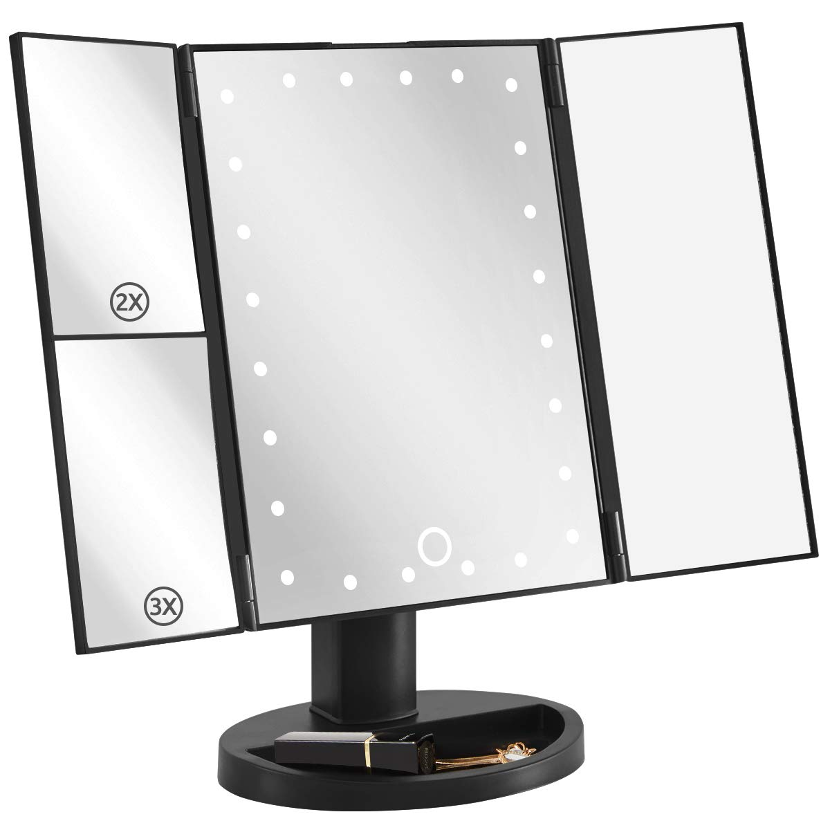 YOUDENOVA Makeup Vanity Mirror with Lights, Led Lighted Makeup Mirror with 3X/2X Magnifying and Dual Power Supply,Touch Screen Switch, 180 Degree Rotation, Portable Fold Cosmetic Mirror