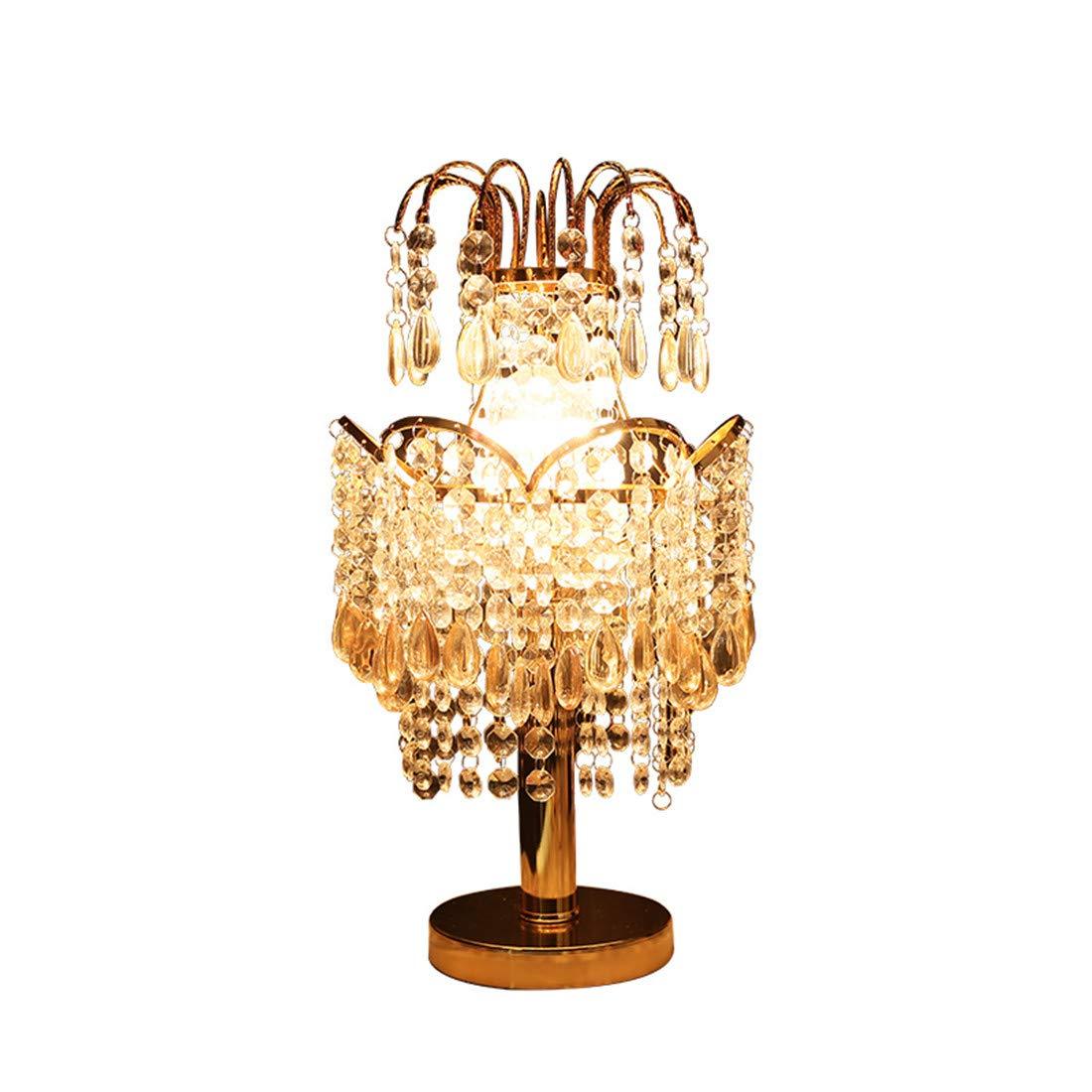 Kristall Anhänger Tischlampe Kronenform romantisch luxuriös E27 Netzschalter Schlafzimmer Nachttischlampe Mode Dekoration Handarbeit Geschenk Geben Gold 45  22cm