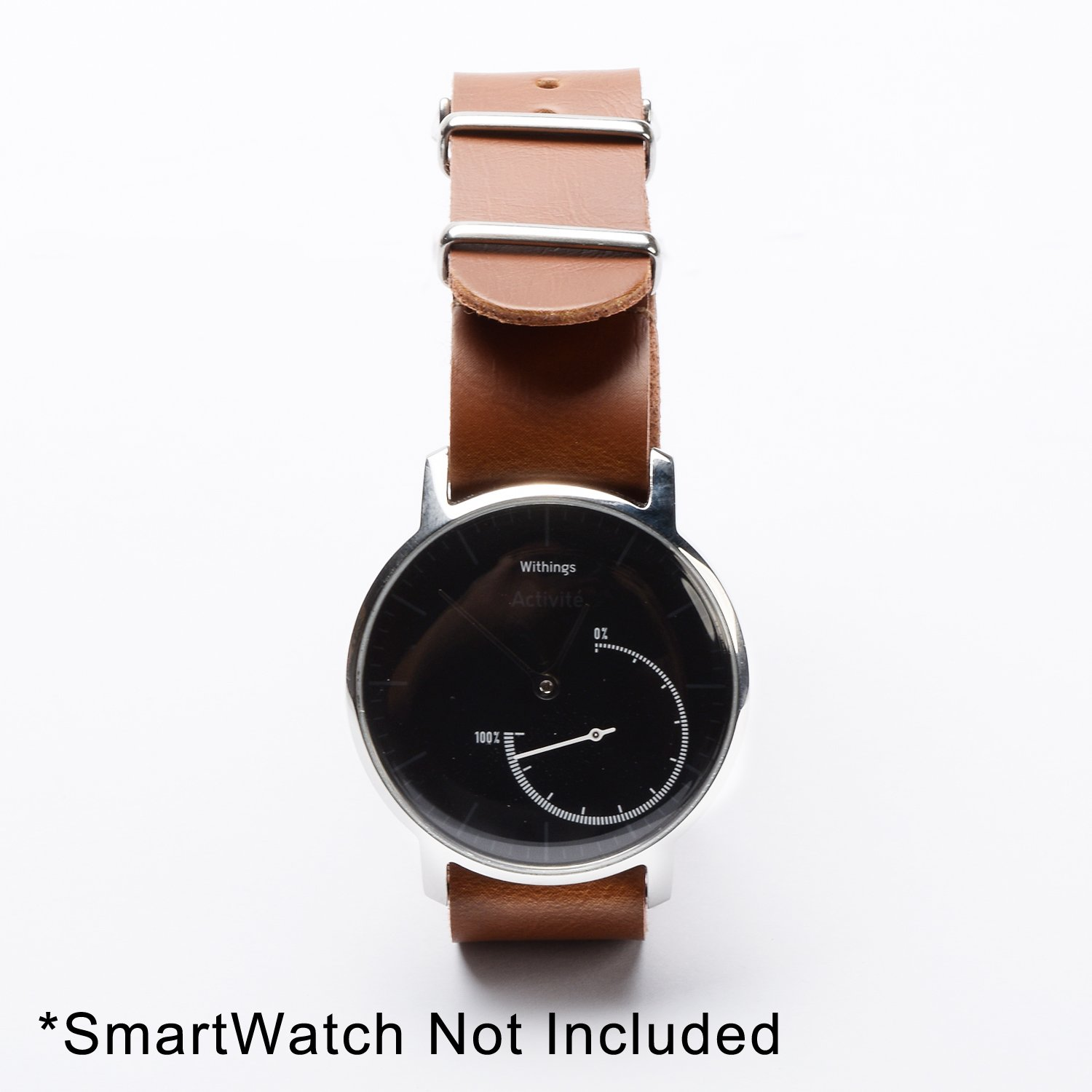 KR-NET 18mm NATO Brown Leather Watch Strap Band Military Style for Withings Activitie Pop Steel