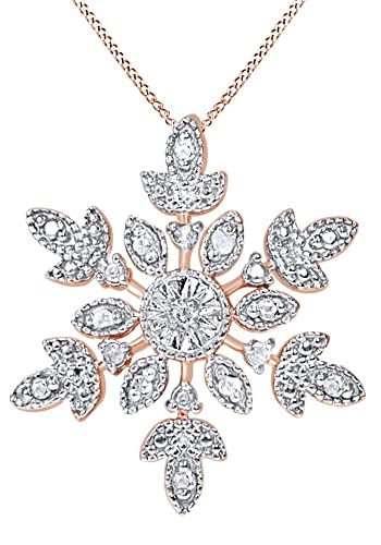 MASOP 925 Sterling Silver Snowflake Necklace for Women with Cubic Zirconia, 18