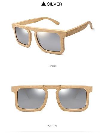 Z&HA Unisex Mode Bambus Sonnenbrille Harz Objektiv Vintage Handgefertigten Holzrahmen Anti-Fog Schattierung Polarisierte Brillen,Silver
