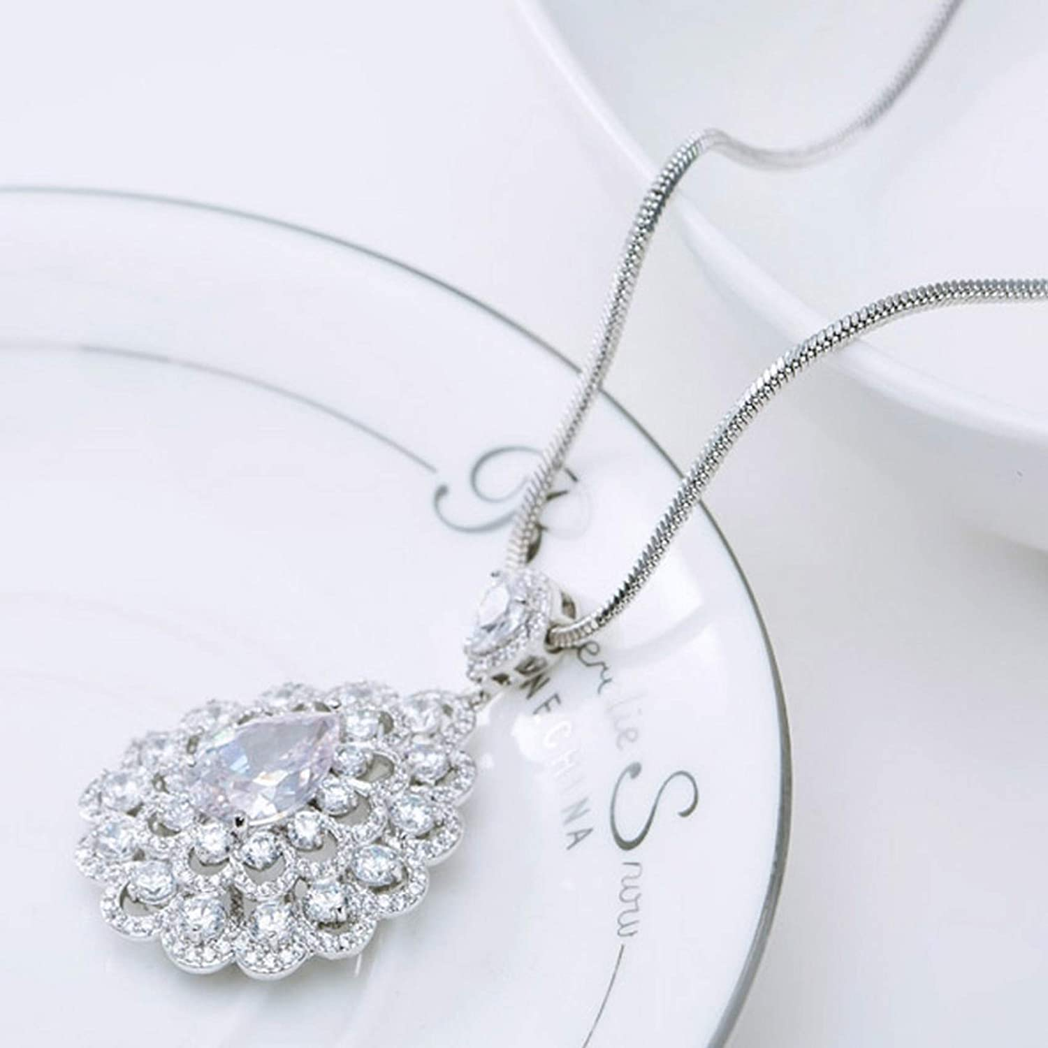 Pendants Necklaces by CS-DB Best Quality Sparkling Clear Cubic Zircon Paved Big Silver Womens Jewelry