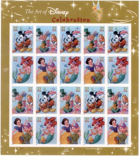 the-art-of-disney-celebration-full-sheet-of-20-x-37-cent-postage-stamps-usa-2005-scott-3912-15