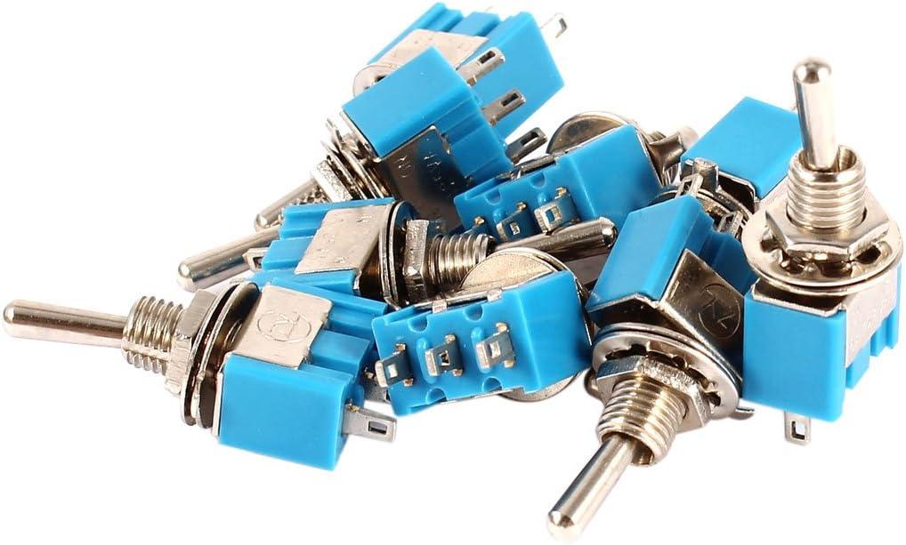 10 Piezas Encendido//Encendido Posici/ón 2 1NO 1NC SPDT Interruptor De Palanca AC 125 V