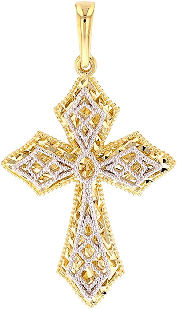 Polished 14K Gold Reversible Filigree Cross Pendant