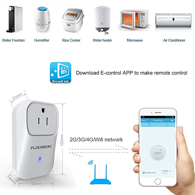 FLOUREON Wi-Fi Smart Socket US Plug Outlet Timer Switch Works No Hub Required Support IOS Android Phones App Remote Lights Air Conditioner Microwave and ...