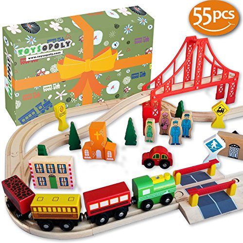 FLASH SALE | Wooden Train Tracks – Deluxe 55 Pcs Set With 3 Destination Fits Thomas, Brio, Ikea, Chuggington, Imaginarium, Melissa and Doug + Free Gift Box (Set Train Thomas Starter)