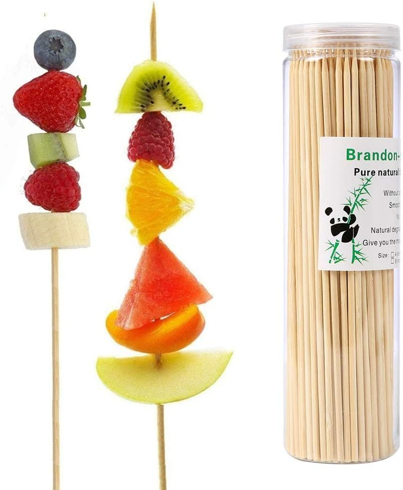 Brandonsuper Bamboo Skewers 4 Inch (200 Pcs) Natural BBQ for Shish Kabob, Grill, Appetizer, Fruit, Corn, Chocolate Fountain