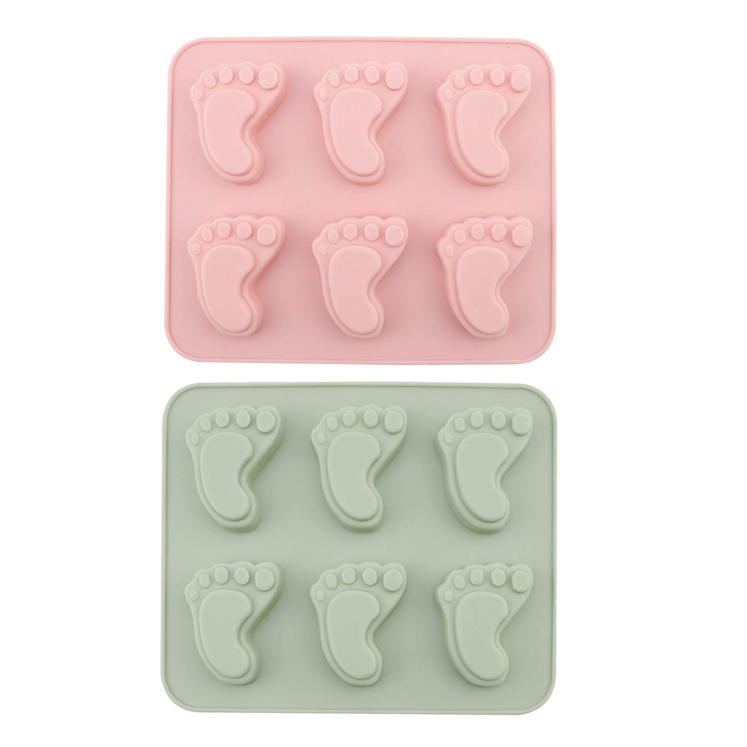 Chocolate Mold, Chokov 2Pcs Baby Footprint Molds Foot Step Silicone Fondant molds for Baby Shower Birthday Cake Decoration Gumpaste Candy Soap Cupcake Topper Decorating
