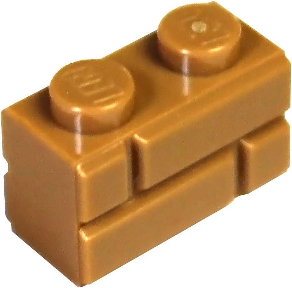 Lego 5 New Dark Tan Bricks Modified 1 x 2 with Masonry Profile Brick Profile