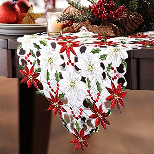 Hand Woven Table Runner - Christmas Embroidered Table Runner Christmas Poinsettia Holly Leaf Openwork Hand-Woven Table Linens for Christmas Decorations 15 x 69 Inch