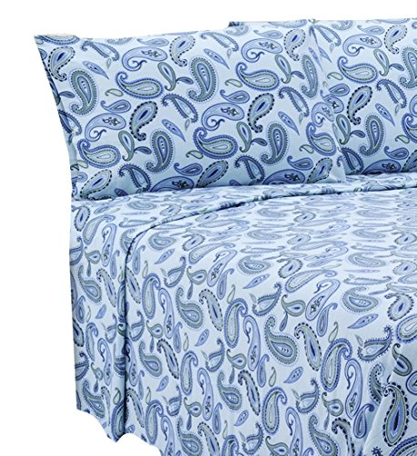 MARRIKAS FLANNEL SHEET SET QUEEN BLUE PAISLEY