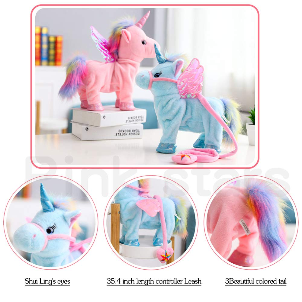 Electric Unicorn Pet Kids Leash Plush Pink Wings Stuffed Animal Toy,Sing Song Walk Twisting Super Cute Ass Unicorn Child Girl Baby Accompany Sleeping Animal Soft Toys Gift by Pink stars (Image #2)