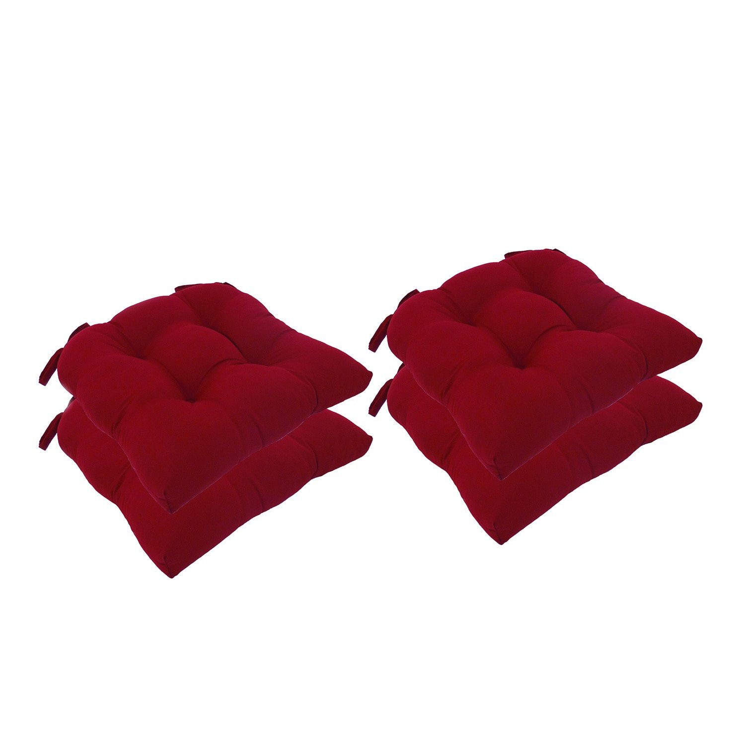 Essentials Micro Fiber Set of Four (4) Chair Pad Seat Cushions Comfortable, Indoor, Dining Living Room, Kitchen, Office, Den, Washable, Fabric Ties, Barn Red, 4 Piece