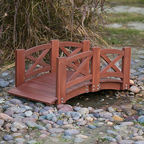 Wood Garden Bridge with Arched Railings in Dark Red Stain Finish