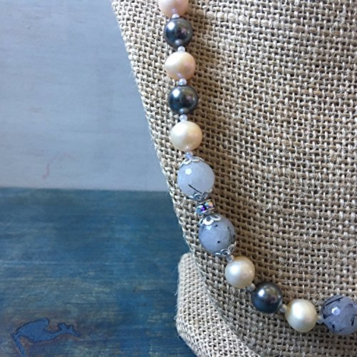 Swarovski Beaded Necklace - Freshwater Pearl And Quartz Beaded Necklace With Swarovski Accents And Magnetic Closure, Swarovski Necklace With Pearls And Quartz