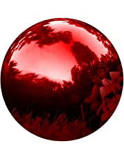 Trademark Innovations Ball-GZNG Gazing Mirror-Stainless Steel 8-Inch Red