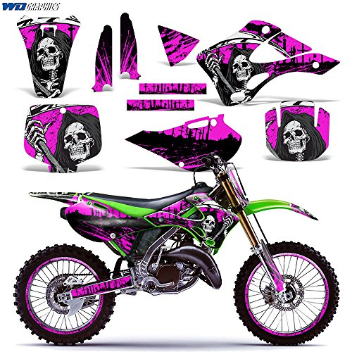 Kawasaki KX125 KX250 1999-2002 Graphics Kit Dirt Bike MX Motocross Decal KX 125 KX 250 REAPER PINK