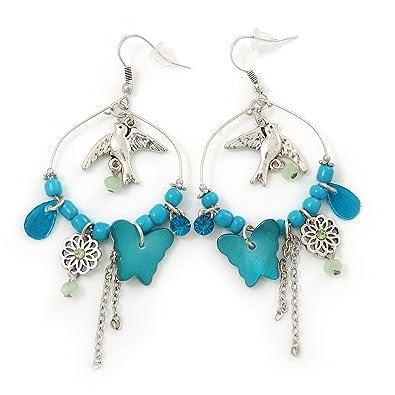 12mm Turquoise Bead Drop Earrings In Silver Tone - 30mm L LAO2io
