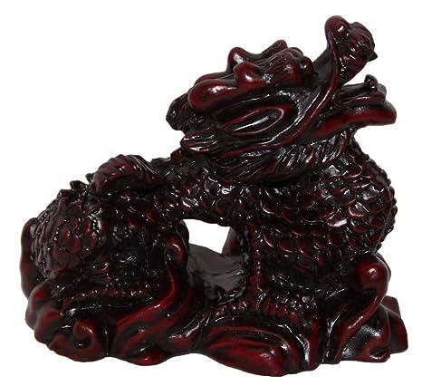 Amazon.com: Figura decorativa de dragón de color rojo oscuro ...