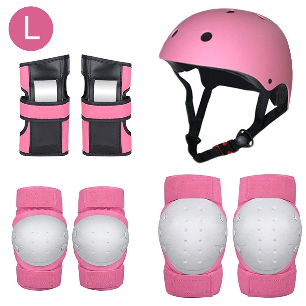 Heitaisi 7 Pcs Protective Gear Set, Protection for Roller Skateboard BMX Scooter, Riding Protective Gear Set(Knee Pads + Elbow Pads + Wrist Pads + Helmet), Kid's Roller Skating Rollerblading Gear