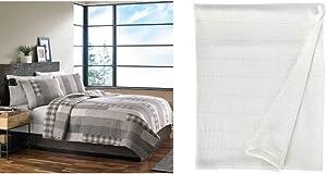Eddie Bauer Home   Fairview 100% Cotton Reversible Quilt Set, Full/Queen + Herringbone 100% Cotton Blanket, Full/Queen, White