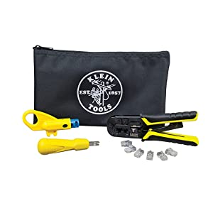 Twisted Pair Installation Kit with Crimper, Punchdown Tool, Radial Stripper, Data Plugs Klein Tools VDV026-212