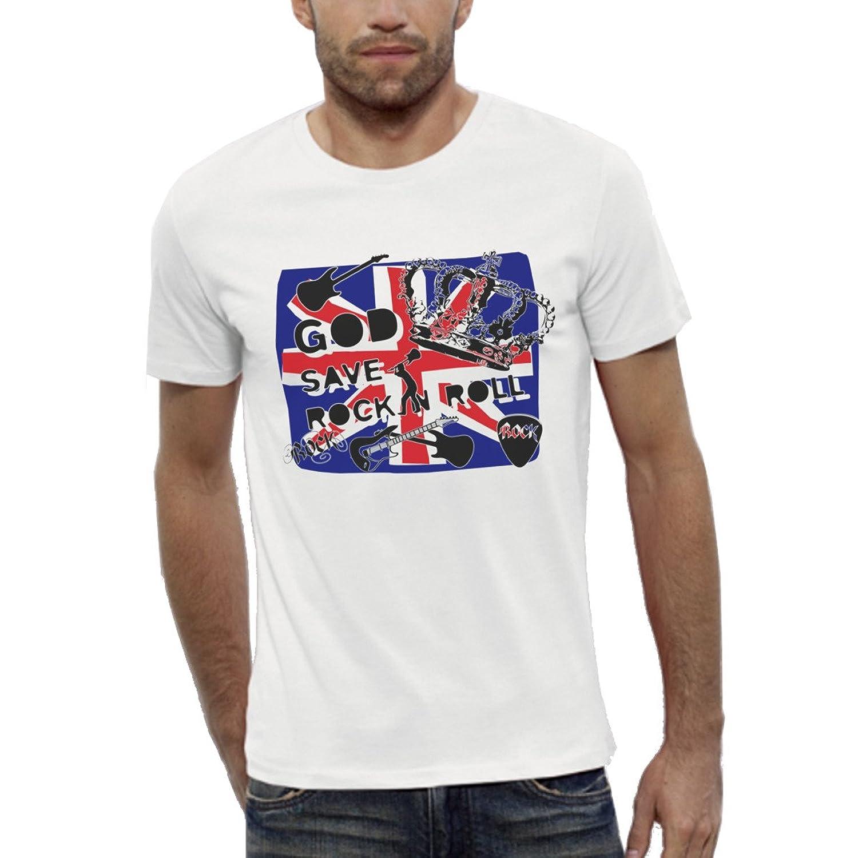 Graphic Organic T-shirt White Short sleeves - God save Rock n Roll - Men XS to XXL